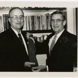 Chancellor Monteith and Albert Lanier with new NCSU necktie