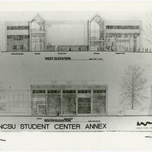 Architectural sketch of NCSU Student Center Annex