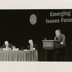 Senator Terry Sanford, Governor Jim Hunt, and a former Secretary of State discuss issues of the Emerging Issues Forum