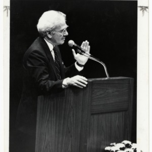 Ernest L. Boyer, renowned educator, gives lecture at Harrelson