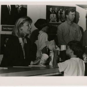 People in the dining area of the fair