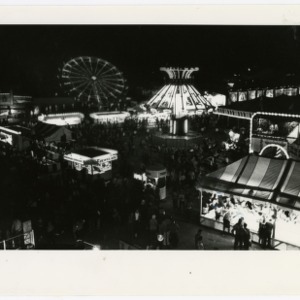View of fairgrounds at night