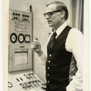 Dr. Elleman in Burlington reactor control room