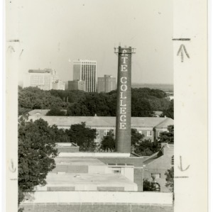 State College Smokestack under construction, with downtown Raleigh in the distance
