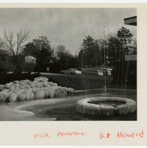 Leftover snow at WRAL fountain