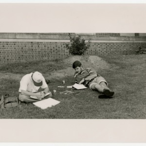 Two freshman studying at Tucker Beach