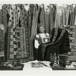 African-American Student Services at North Carolina State University's College of Textiles wears and displays kente cloth