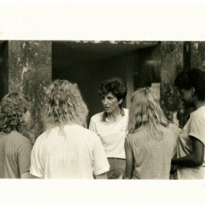 Kay Yow greets students at North Carolina State University's basketball camp