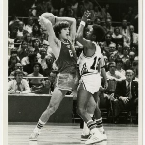 Morris Rivers guards a Russian in USA versus USSR game in Greensboro