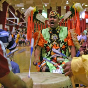 Drumming at NC State's Native American Student Association Pow Wow
