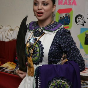 Woman in traditional dress at Native American Culture Night