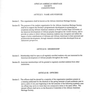 African American Heritage Society constitution