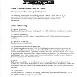 Argentine Tango Club constitution