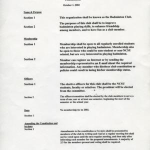 Badminton Club constitution