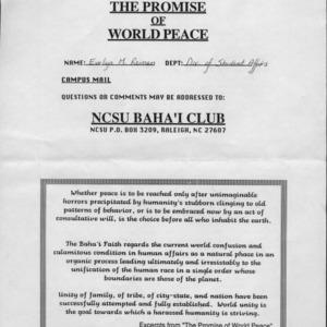 Bahaii Club, NCSU constitution