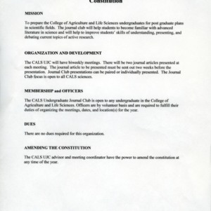 CALS Undergraduate Journal Club constitution