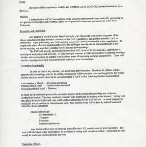 Campus Arts Council constitution