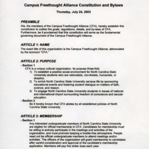 Campus Freethought Alliance constitution