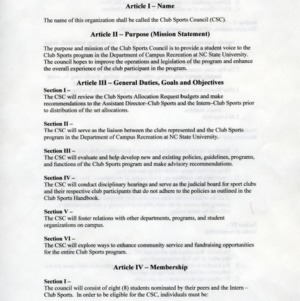 Campus Recreation - Club Sports Council constitution