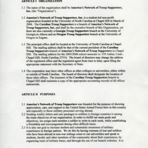 Carolina Troop Supporters constitution