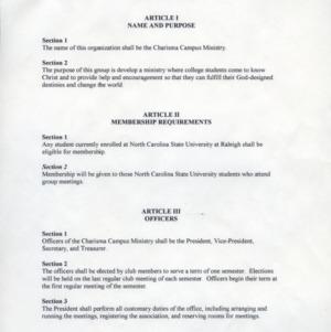 Charisma Campus Ministry constitution