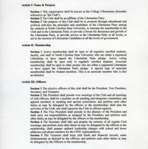 College Libertarians constitution