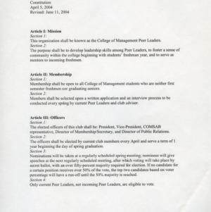 College of Management Peer Leaders constitution