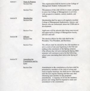College of Management Student Ambassadors constitution