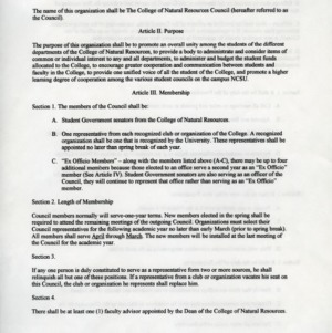 College of Natural Resources Council constitution