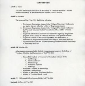 College of Veterinary Medicine GSA constitution