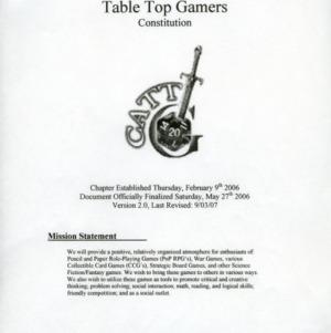 Collegiate Association of Table Top Games constitution