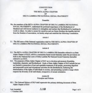 Delta Lambda Phi constitution