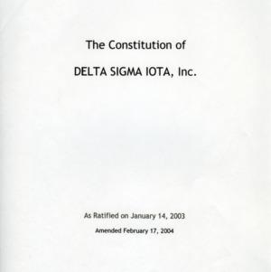 Delta Sigma Iota constitution