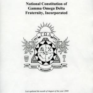Gamma Omega Delta Fraternity, Inc. constitution