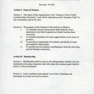 Genetics Club constitution