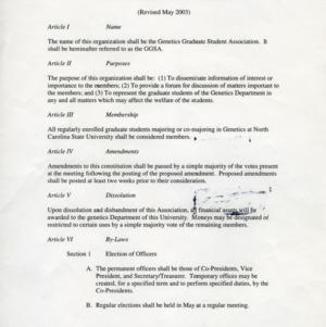 Genetic Graduate Student Organization constitution