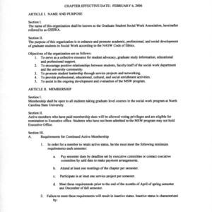 Graduate Student Social Work Association constitution