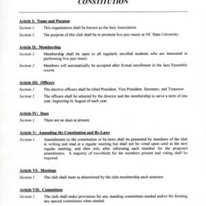 Jazz Ensemble Club (Jazz Association) constitution