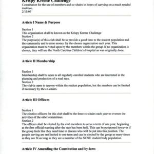Krispy Kreme Challenge constitution