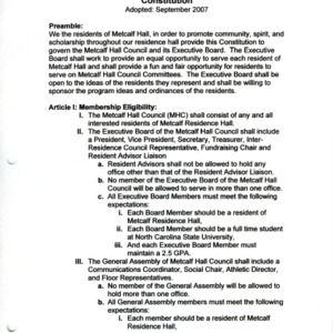 Metcalf Hall Council constitution