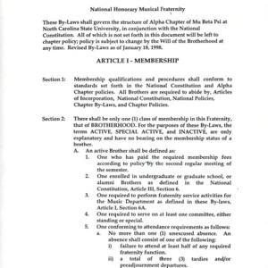 Mu Beta (Music Honorary) constitution