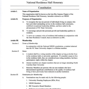 National Residence Hall Honorary constitution
