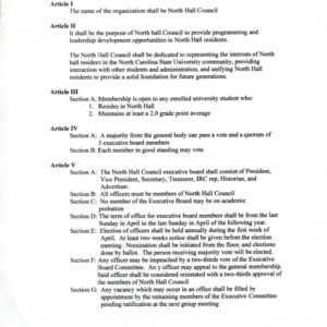 North and Watauga Area Hall Council constitution