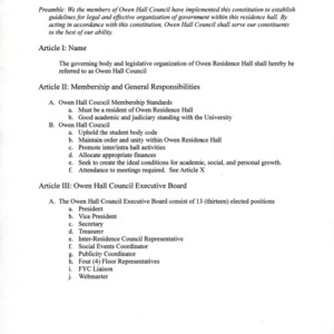 Owen Hall Council constitution
