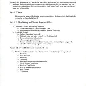 Owen Hall Council constitution