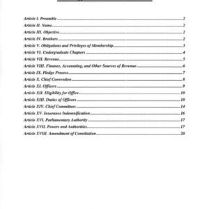 Phi Sigma Nu Fraternity constitution