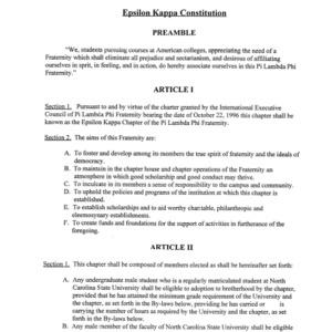 Pi Lambda Phi Fraternity constitution