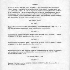 Semper Fidelis Society constitution