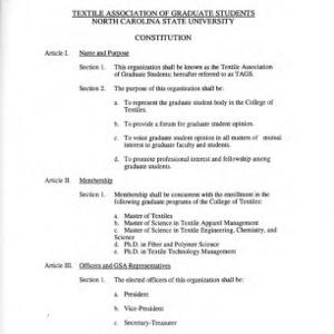 Textile Association of Graduate Students constitution
