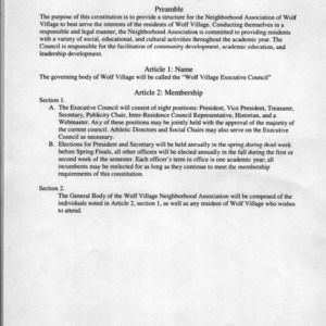 Wolf Village Neighborhood Association constitution